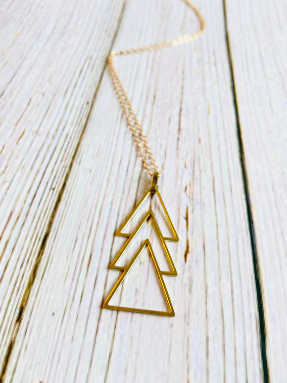 Triple Triangle Pendant Necklace