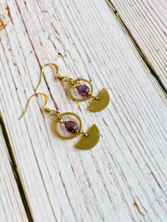 Beaded Brass Arc Earrings