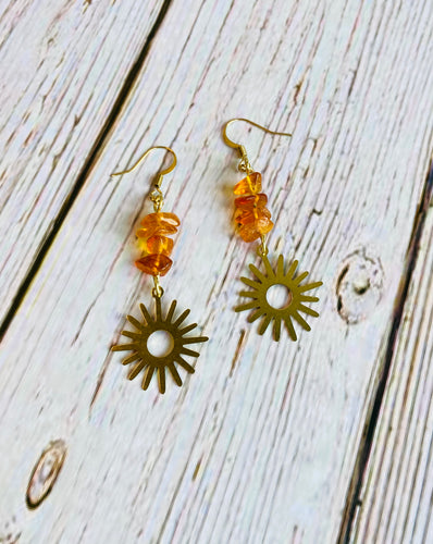 Genuine Amber Sun Earrings - Black Cat Modern Boho Handmade Jewelry