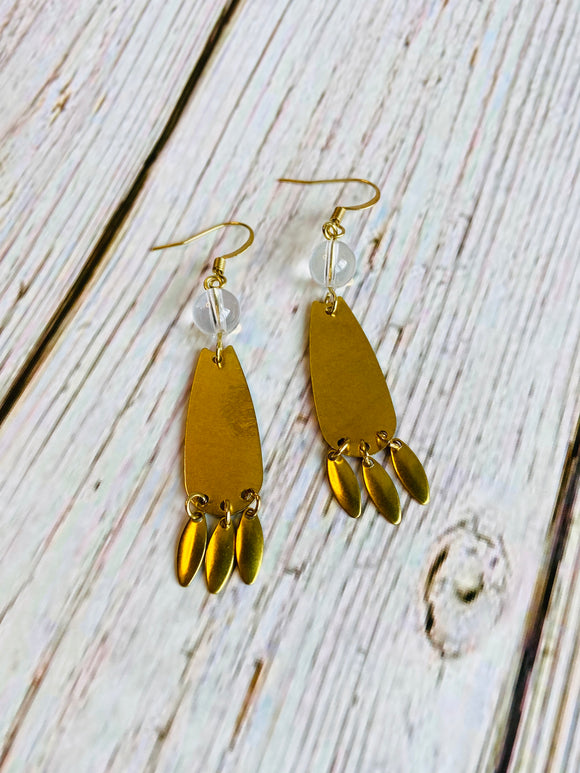 Crystal Quartz Boho Dangle Earrings