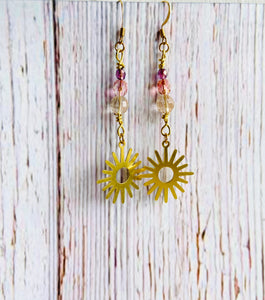 Quartz Beaded Sun Earrings - Black Cat Modern Boho Handmade Jewelry
