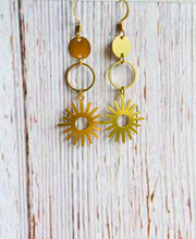Natural Brass Sun Earrings - Black Cat Modern Boho Handmade Jewelry