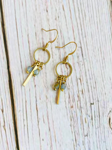 Brass Beaded Bar Minimalist Earrings - Black Cat Modern Boho Handmade Jewelry