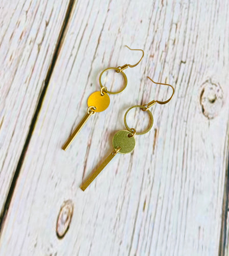 Brass Bar & Circle Drop Earrings - Black Cat Modern Boho Handmade Jewelry