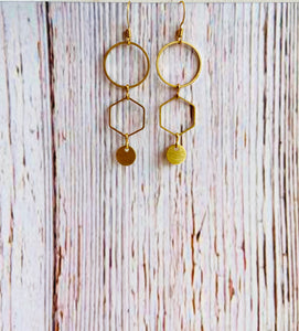 Cascading Brass Circle Drop Earrings - Black Cat Modern Boho Handmade Jewelry