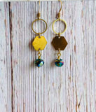 Crystal Hex Drop Earrings (3 Colors) - Black Cat Modern Boho Handmade Jewelry