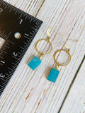 Aqua Glass Window Drop Earrings - Black Cat Modern Boho Handmade Jewelry