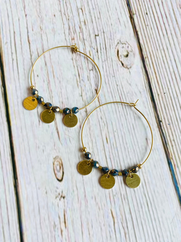Aqua and Brass Hoop Earrings