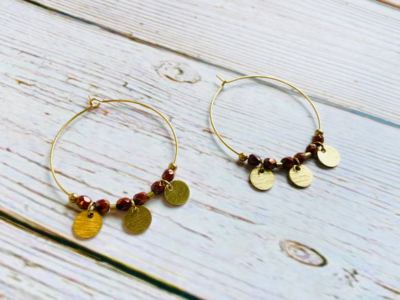 Umber & Brass Hoop Earrings