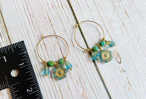 Aqua & Gold Flower Hoop Eearrings - Black Cat Modern Boho Handmade Jewelry