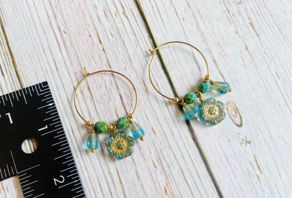 Aqua & Gold Flower Hoop Eearrings