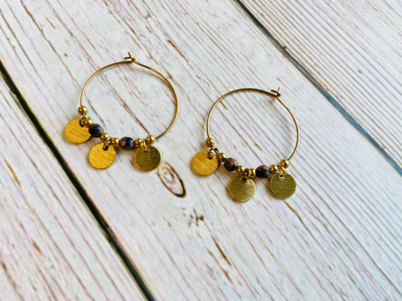 Bronze & Brass Hoop Earrings