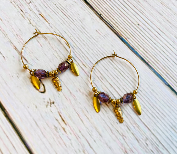 Amethyst & Owl Brass Hoop Earrings