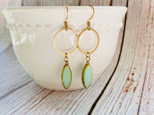 Brass Oval Window Dangle Earrings (3 Colors) - Black Cat Modern Boho Handmade Jewelry