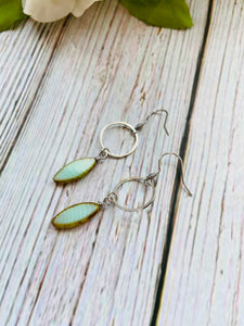Silver Oval Window Dangle Earrings (3 Colors) - Black Cat Modern Boho Handmade Jewelry