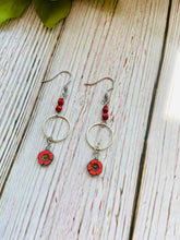 Silver Hibiscus Flower Dangle Earrings (3 Colors) - Black Cat Modern Boho Handmade Jewelry
