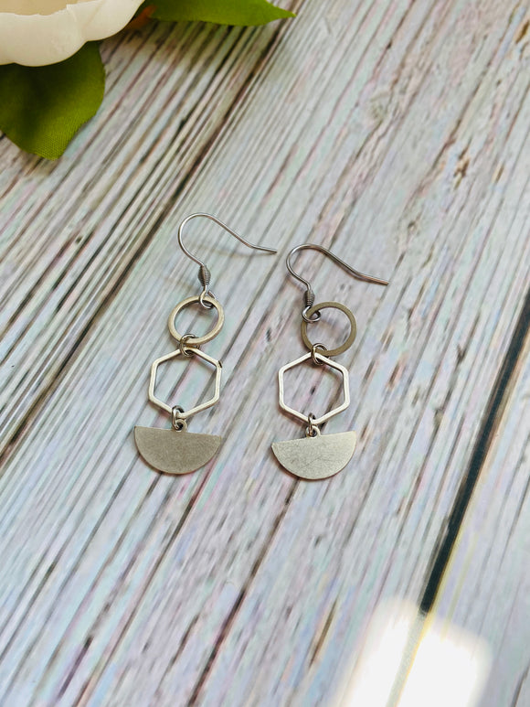 Small Silver Circle Hex Moon Drop Earrings - Black Cat Modern Boho Handmade Jewelry