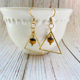 "Beaded Brass ""Deathly Hollows"" Earrings - Black Cat Modern Boho Handmade Jewelry"