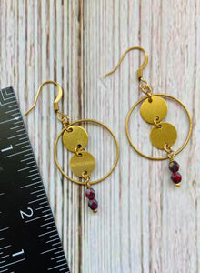 Beaded Brass Circle Drop Earrings - Black Cat Modern Boho Handmade Jewelry