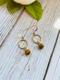 Simple Beaded Circle Drop Earrings - Black Cat Modern Boho Handmade Jewelry