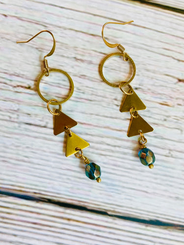 Brilliant Blue Triangle Drop Earrings - Black Cat Modern Boho Handmade Jewelry