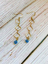 Blue Diamond Drop Earrings - Black Cat Modern Boho Handmade Jewelry