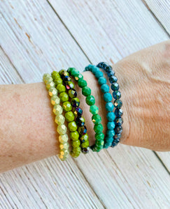 Beaded Bangle Bracelet Stack - You Choose Colors (NEW COLORS!) - Black Cat Modern Boho Handmade Jewelry