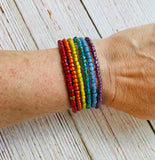 Rainbow Wrap Beaded Bracelet - Black Cat Modern Boho Handmade Jewelry