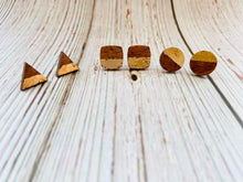 Wooden Geometric Gilded Studs - Black Cat Modern Boho Handmade Jewelry