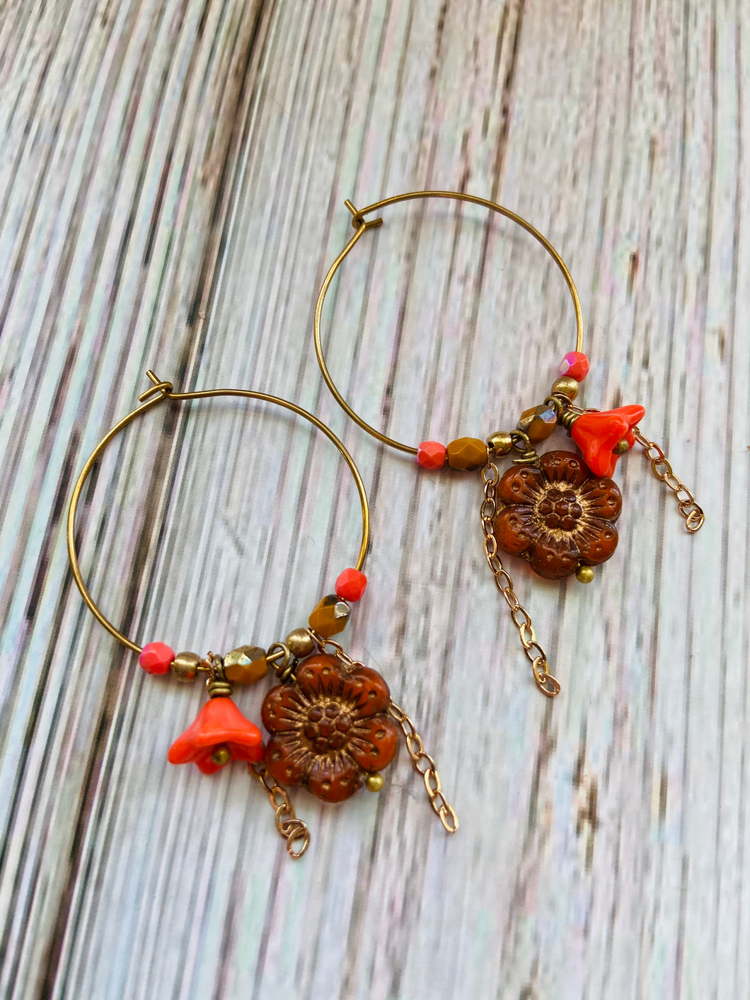 Orange & Gold Flower Hoop Earrings - Black Cat Modern Boho Handmade Jewelry