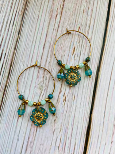 Aqua & Gold Flower Hoop Earrings - Black Cat Modern Boho Handmade Jewelry