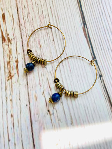 Lapis & Brass Hoop Earrings - Black Cat Modern Boho Handmade Jewelry