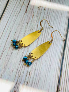 Brass Drop Beaded Drop Earrings - Black Cat Modern Boho Handmade Jewelry