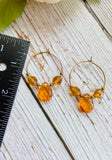 Honey Glass Beaded Hoop Earrings - Black Cat Modern Boho Handmade Jewelry