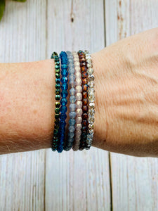 Delicate Beaded Bangle Bracelet Stack - You Choose Colors (NEW COLORS!) - Black Cat Modern Boho Handmade Jewelry