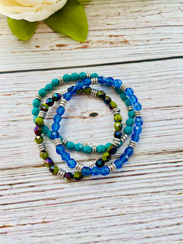 Beaded Bracelet Stack - Blue Green Mix - Black Cat Modern Boho Handmade Jewelry