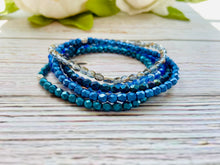 Delicate Beaded Bracelet Stack - Blue Mix - Black Cat Modern Boho Handmade Jewelry