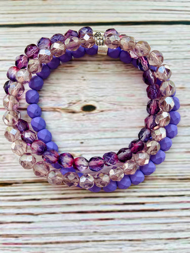 Beaded Bracelet Stack - Purple Mix - Black Cat Modern Boho Handmade Jewelry
