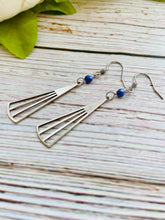 Long Silver Fan Earrings - Black Cat Modern Boho Handmade Jewelry