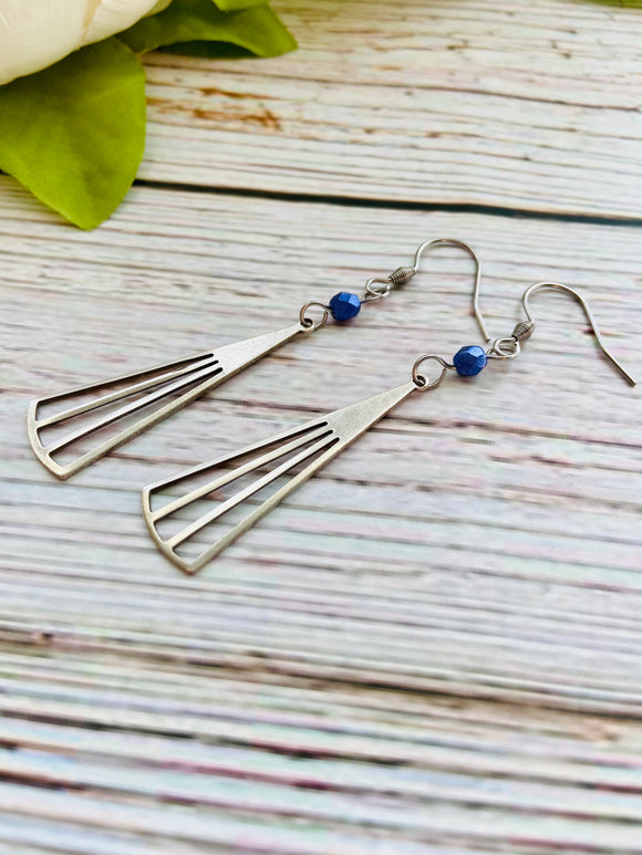 Long Silver Fan Earrings