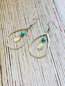 Silver & Turquoise Teardrop Earrings - Black Cat Modern Boho Handmade Jewelry