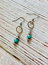 Tiny Silver Circle & Turquoise Earrings - Black Cat Modern Boho Handmade Jewelry