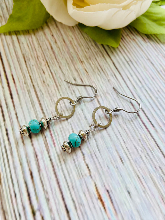 Tiny Silver Circle & Turquoise Earrings