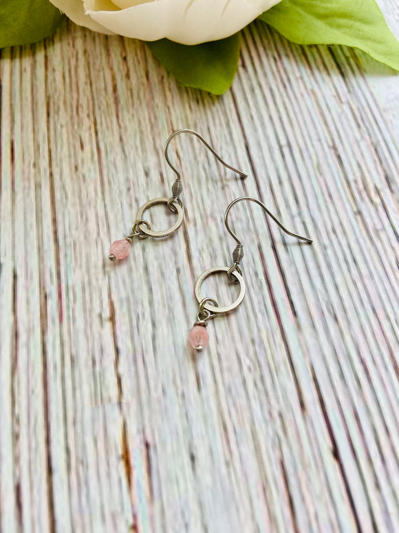 Tiny Silver Circle & Pink Hurricane Glass Earrings - Black Cat Modern Boho Handmade Jewelry