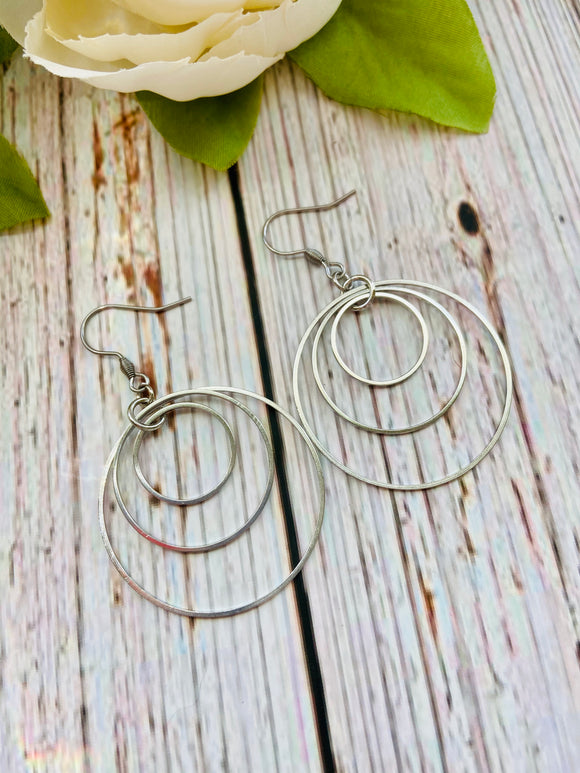 Triple Silver Hoop Earrings - Black Cat Modern Boho Handmade Jewelry