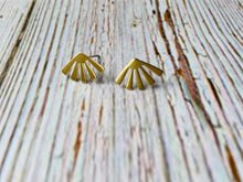 Organic Brass Stud Earrings - Black Cat Modern Boho Handmade Jewelry