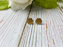 Geometric Brass Stud Earrings - Black Cat Modern Boho Handmade Jewelry