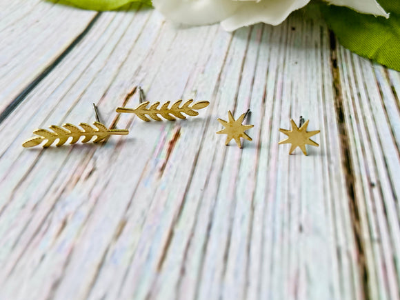 Organic Brass Stud Earrings