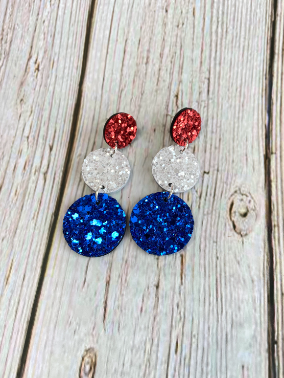 Red White & Blue Terra Glitter Earrings - Black Cat Modern Boho Handmade Jewelry