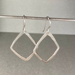 Hammered Silver Diamond Earrings